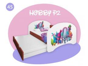 Detská posteľ Hobby P2 s prístelkou 200x90 calvados