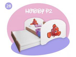 Hobby P2 200x90 detská posteľ s prístelkou buk