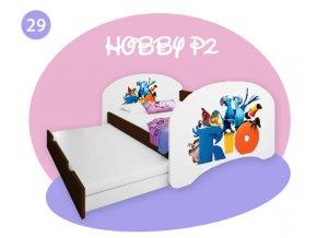 Hobby P2 200x90 rozkladacie postele pre deti - gaštan