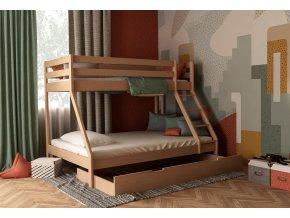 Borovicová poschodová posteľ s rozšíreným lôžko Mikael 200x140 + prístelka