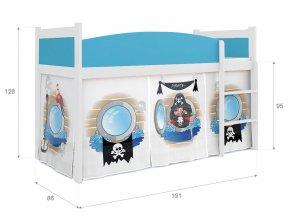 Twist piráti 04 vyvýšená posteľ rošt + matrac zadarmo