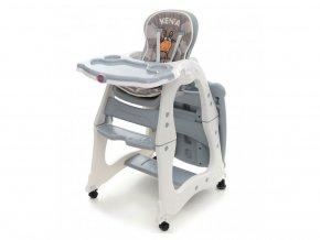 Stolička na kŕmenie Coto baby Kenia v sivom prevedení