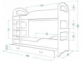Patrik 180x80 poschodová posteľ biela
